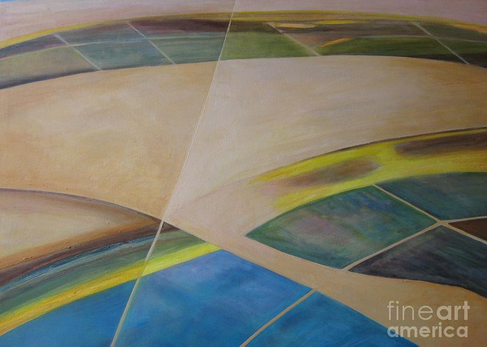 Landscape Abstract Sand Blue Geometric Shapes Greeting Card featuring the painting Desert Tapestry by Lena Shugar