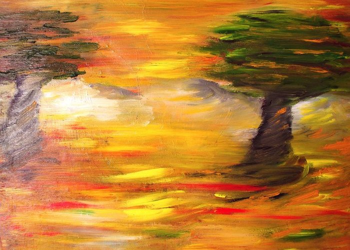Landscape Greeting Card featuring the painting Desert Trees by Evelina Popilian