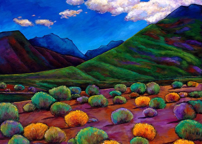 Arizona Greeting Card featuring the painting Desert Valley by Johnathan Harris