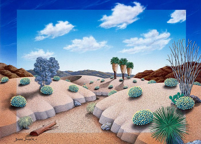 Desert Greeting Card featuring the painting Desert Vista 2 by Snake Jagger