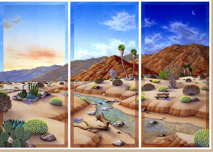 Landscape Greeting Card featuring the painting Desert Vista by Snake Jagger