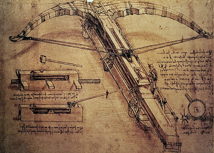 Design Greeting Card featuring the painting Design For A Giant Crossbow by Leonardo Da Vinci