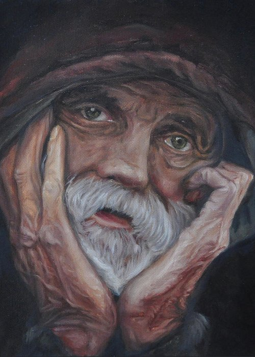 Poverty Greeting Card featuring the painting Despair by Tahirih Goffic