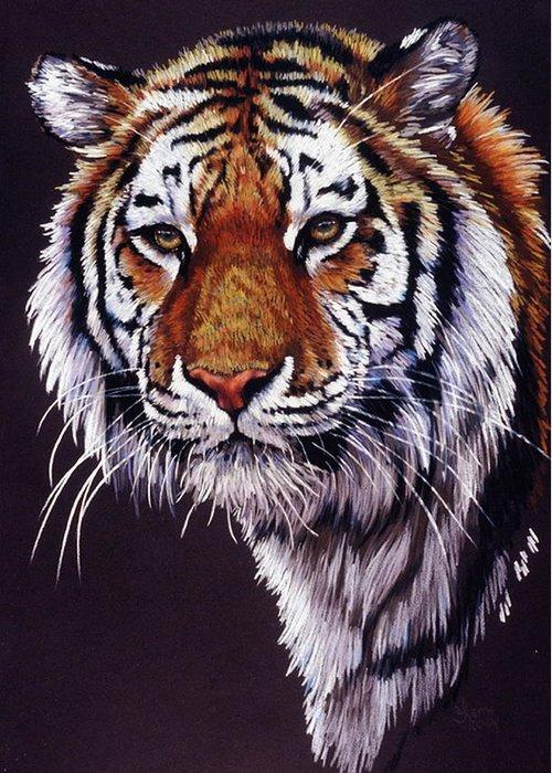 Tiger Greeting Card featuring the drawing Desperado by Barbara Keith