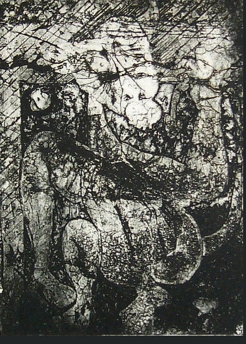 Etching Greeting Card featuring the print Destroy Plate by Thomas Valentine