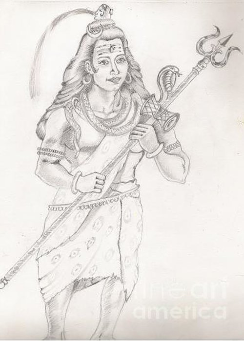 Lord Shiva Greeting Card featuring the painting Destroyer Of The Universe - Lord Shiva by Tanmay Singh