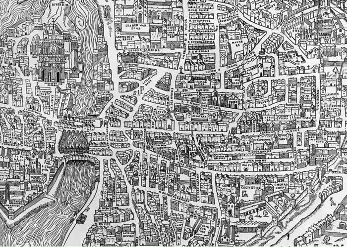 Maps Greeting Card featuring the photograph Detail From A Map Of Paris In The Reign Of Henri II Showing The Quartier Des Ecoles by French School