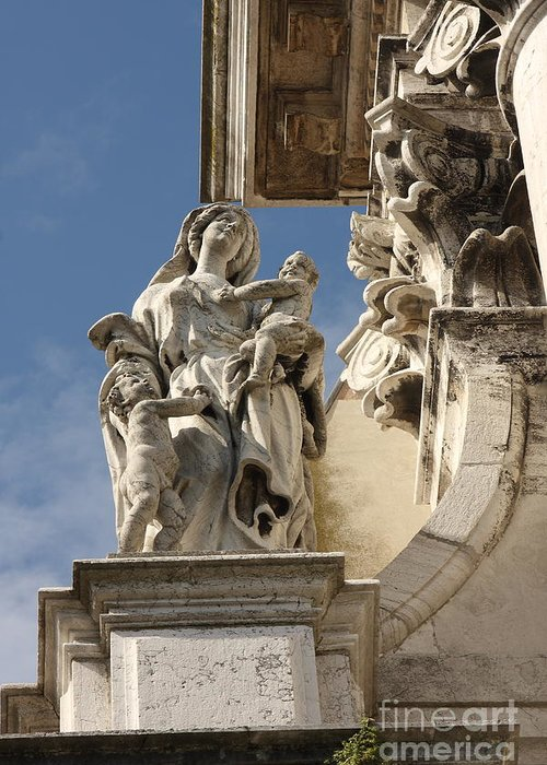 Venice Greeting Card featuring the photograph Detail From Church In Venice II by Michael Henderson