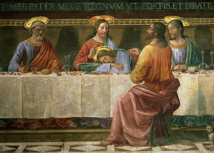 Detail Greeting Card featuring the painting Detail From The Last Supper by Domenico Ghirlandaio