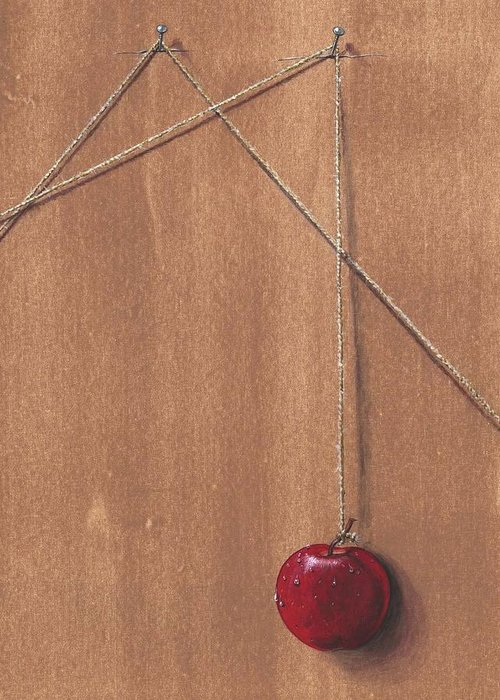 Apple Greeting Card featuring the painting Detail Of Balanced Temptation. by Roger Calle