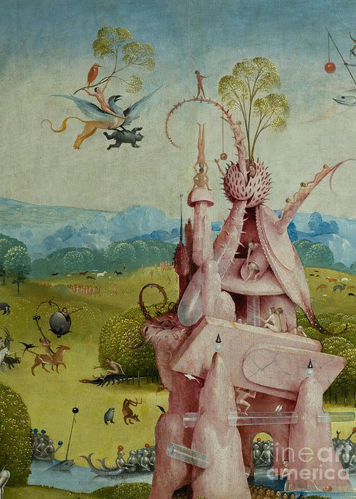 Central Panel Greeting Card featuring the painting Detail Of Central Panel The Garden Of Earthly Delights by Hieronymus Bosch