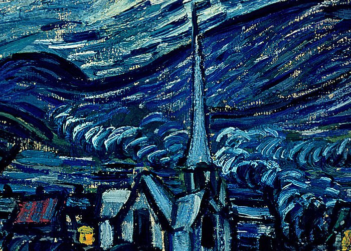 Post-impressionist;stars;star;nocturne;landscape;church Spire;moon;moonlight;tree;sky;cosmic;st;remy;provence;french;saint-remy;post-impressionism Greeting Card featuring the painting Detail Of The Starry Night by Vincent Van Gogh
