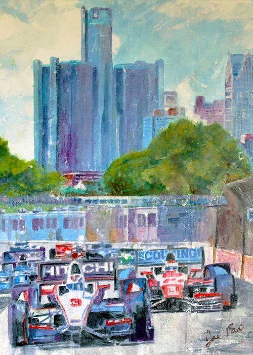 Landscapes Greeting Card featuring the painting Detroit Grand Prix On Belle Isle by Joe Pas