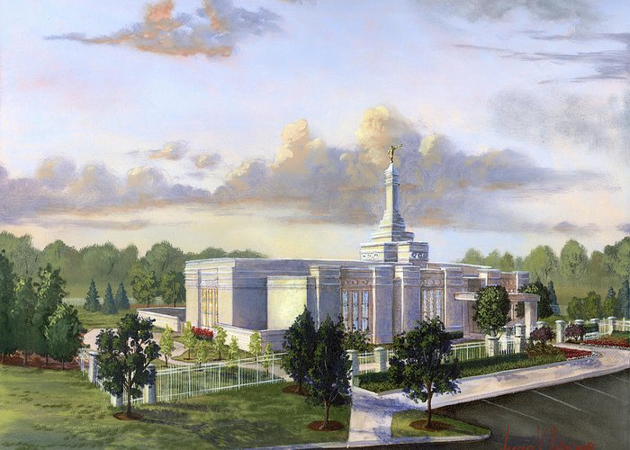 Detroit Michigan Temple Greeting Card featuring the painting Detroit Michigan Temple by Jeff Brimley