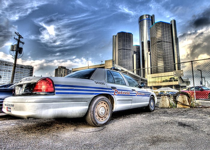 Detroit Police Greeting Card featuring the photograph Detroit Police by Nicholas Grunas