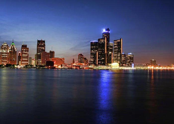 Detroit Greeting Card featuring the photograph Detroit Skyline 1 by Gordon Dean II