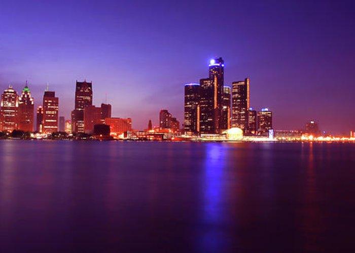 Detroit Greeting Card featuring the photograph Detroit Skyline 2 by Gordon Dean II
