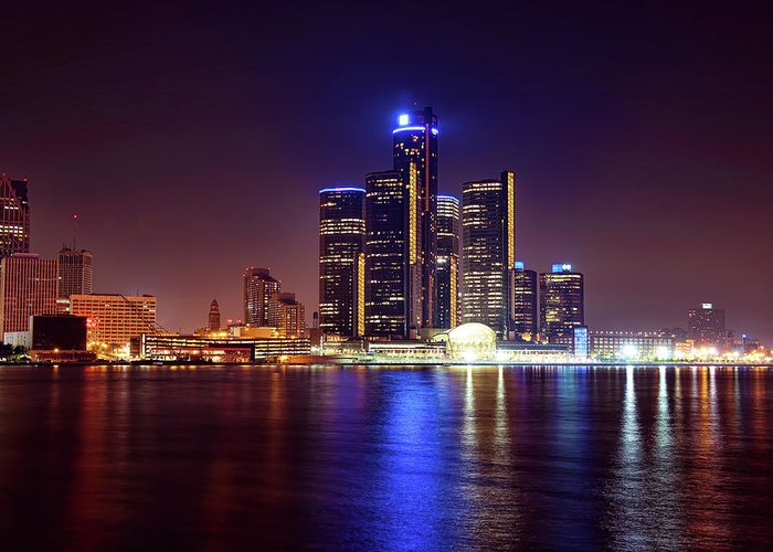 Detroit Greeting Card featuring the photograph Detroit Skyline 4 by Gordon Dean II