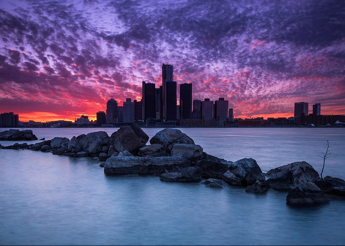 Detroit Greeting Card featuring the photograph Detroit Skyline Clouds by Cale Best