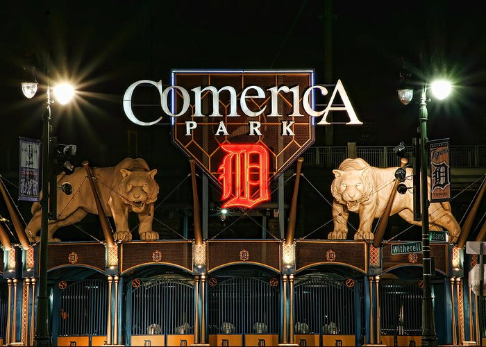 Detroit Greeting Card featuring the photograph Detroit Tigers - Comerica Park by Gordon Dean II
