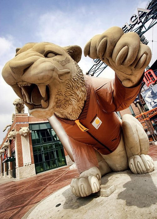 Detroit Greeting Card featuring the photograph Detroit Tigers Tiger Statue Outside Of Comerica Park Detroit Michigan by Gordon Dean II