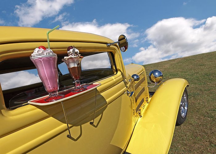 Hotrod Greeting Card featuring the photograph Deuce Coupe At The Drive-in by Gill Billington