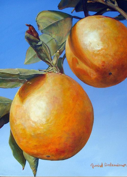 Floral Painting Greeting Card featuring the painting Deux Oranges by Muriel Dolemieux