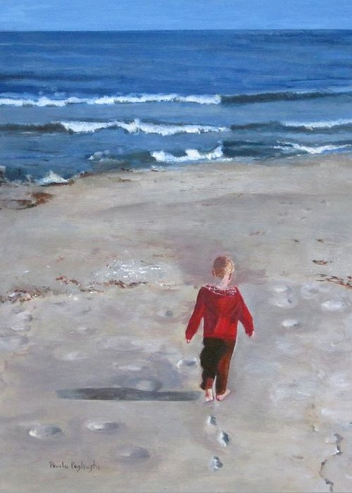 Acrylic Painting Of A Little Boy On The Beach With Ocean In The Background. Walking On The Sand Towards The Ocean. Greeting Card featuring the painting Dever by Paula Pagliughi