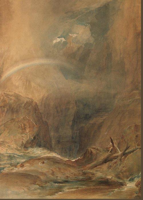 19th Century Art Greeting Card featuring the painting Devil's Bridge Saint Gotthard's Pass by Joseph Mallord William Turner