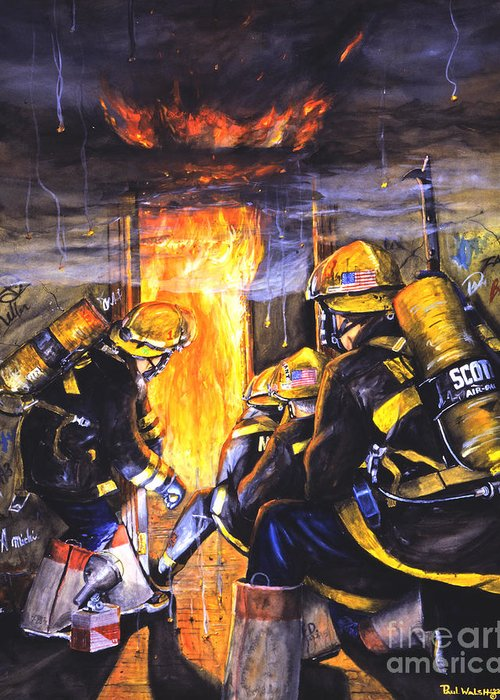 Firefighting Greeting Card featuring the painting Devil's Doorway by Paul Walsh