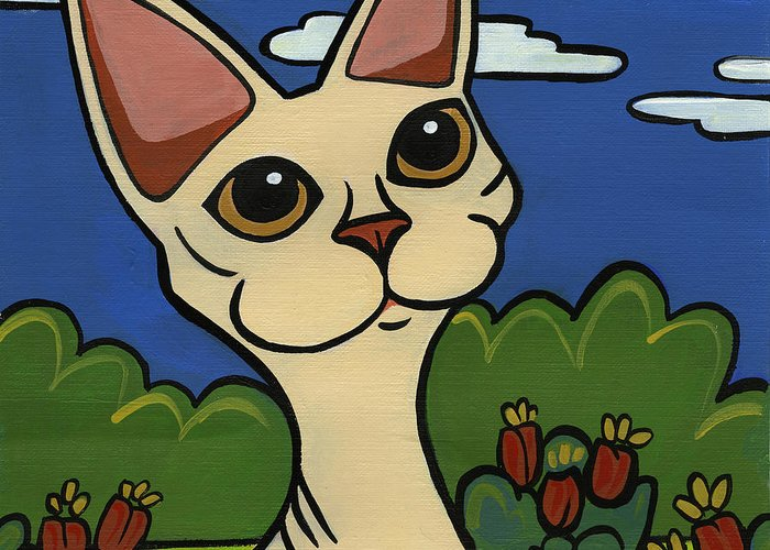 Cat Greeting Card featuring the painting Devon Rex by Leanne Wilkes