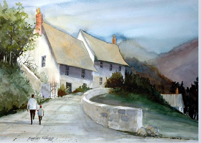 Devonshire Greeting Card featuring the painting Devonshire Cottage II by Charles Rowland