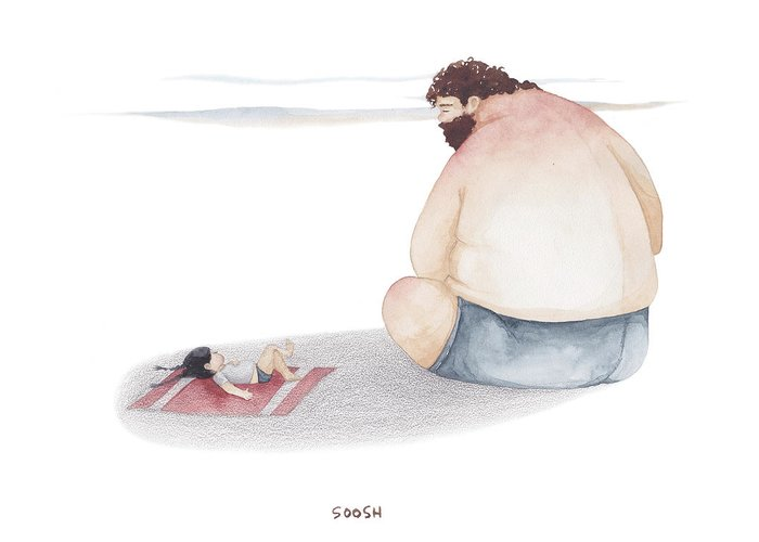 Father Greeting Card featuring the drawing Devoted Father by Soosh