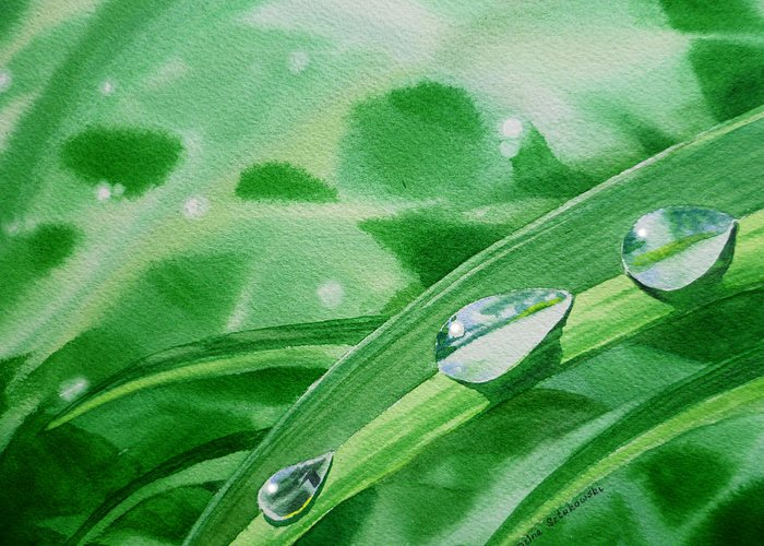 Dew Drop Greeting Card featuring the painting Dew Drops by Irina Sztukowski