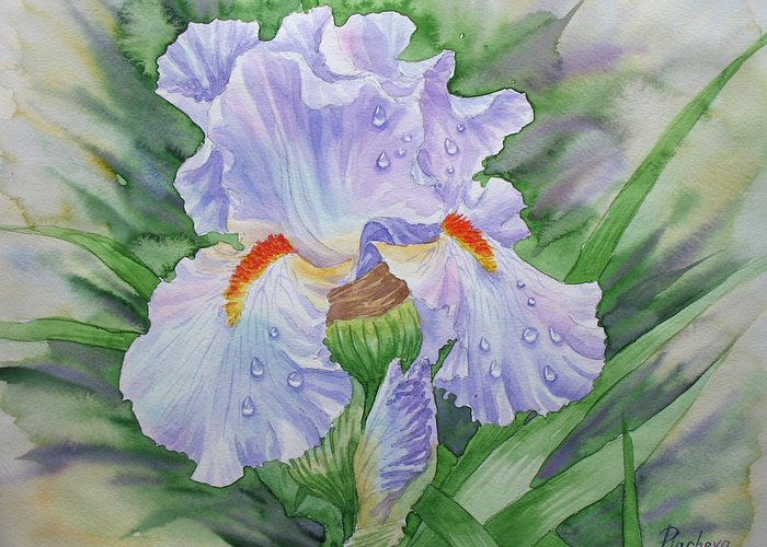 Flowers Greeting Card featuring the painting Dew On Light Blue Iris. by Natalia Piacheva