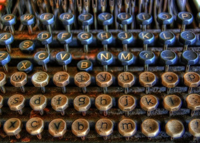 Typewriter Greeting Card featuring the photograph Dfghjk by Joel Witmeyer