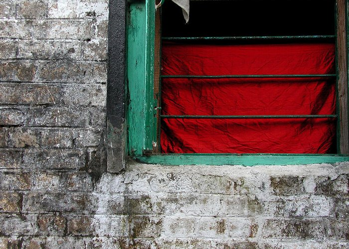 Red Greeting Card featuring the photograph Dharamsala Window by Skip Hunt