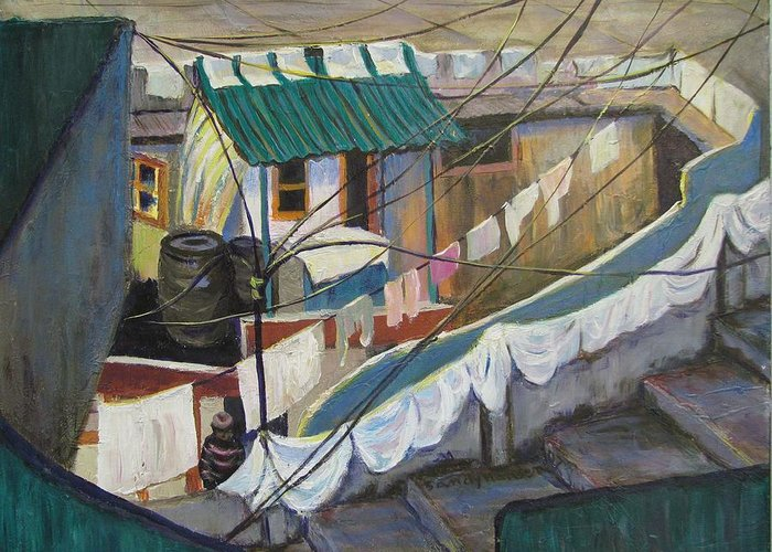 Landscape Greeting Card featuring the painting Dhobi by Art Nomad Sandra Hansen