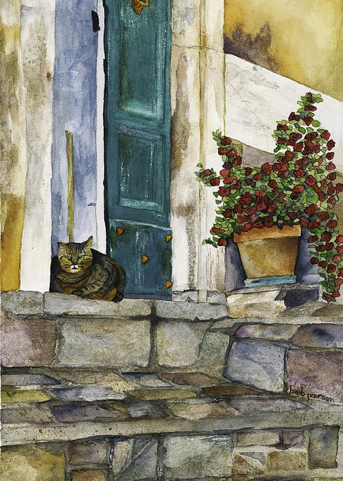 Cat Greeting Card featuring the painting Di Gatto by Barb Pearson