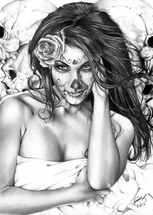 Jennifer Greeting Card featuring the painting Dia De Los Muertos 2 by Pete Tapang
