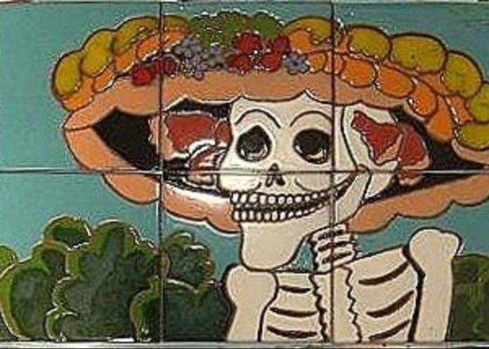 Old Mexico Greeting Card featuring the ceramic art Dia De Los Muertos by Yana Yatsyk