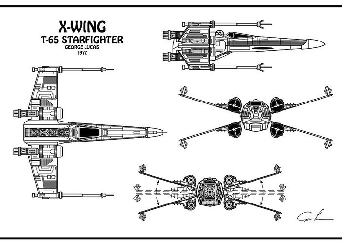 Diagram Illustration For The T-65 X-wing Starfighter From Star Wars on