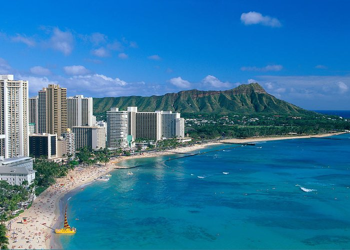 Aerial Greeting Card featuring the photograph Diamond Head And Waikiki by William Waterfall - Printscapes