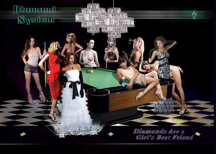 Pool Greeting Card featuring the digital art Diamond System by Draw Shots