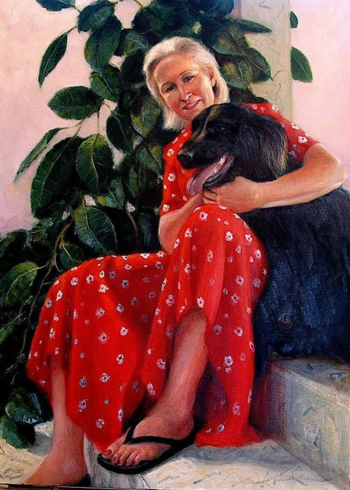Realism Greeting Card featuring the painting Diane And Cinder by Donelli DiMaria