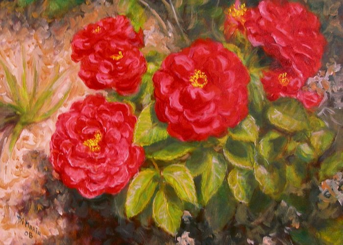 Realism Greeting Card featuring the painting Diane's Roses by Donelli DiMaria