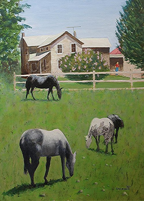 Horses Greeting Card featuring the painting Dibble's by Joseph Stevenson