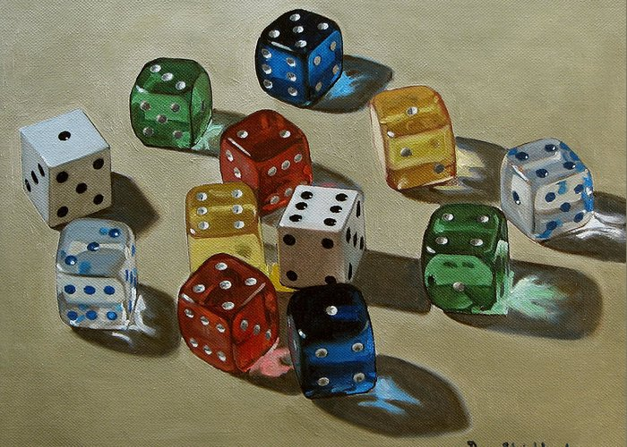 Doug Strickland Greeting Card featuring the painting Dice by Doug Strickland