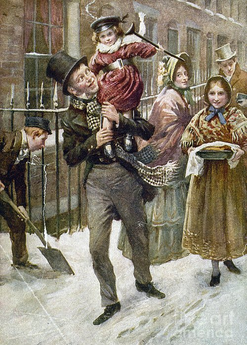 1920 Greeting Card featuring the painting Dickens: A Christmas Carol by Granger