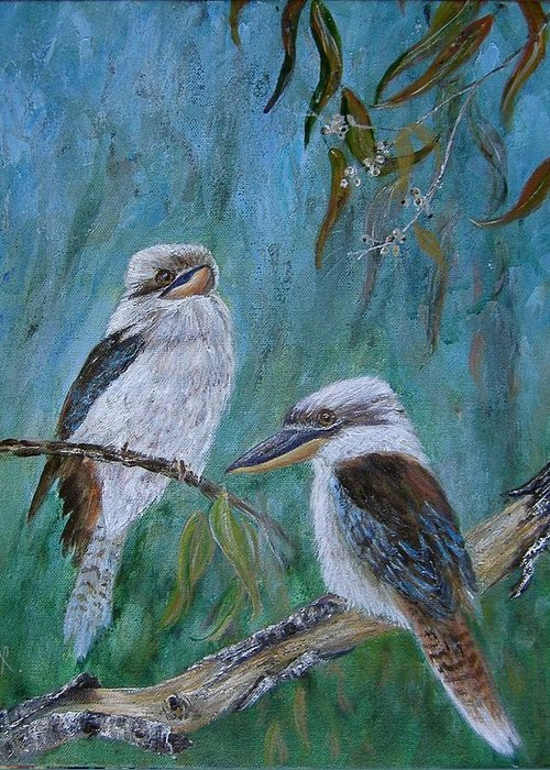 Birds Greeting Card featuring the painting Did You Hear Something by Rita Palm